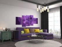 Innenraum mit Sofa Abbildung 3D Stockfotos