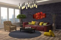 Innenraum mit Sofa Abbildung 3D Lizenzfreies Stockfoto