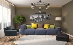 Innenraum mit Sofa Abbildung 3D Lizenzfreies Stockbild