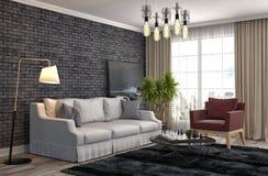 Innenraum mit Sofa Abbildung 3D Lizenzfreie Stockfotos