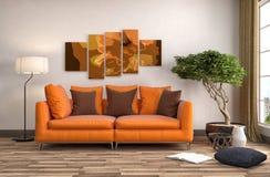 Innenraum mit Sofa Abbildung 3D Lizenzfreie Stockbilder