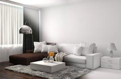 Innenraum mit Sofa- und CAD-wireframemasche Abbildung 3D Stockfotografie