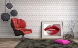 Innenraum mit Stuhl Abbildung 3D Stockfoto