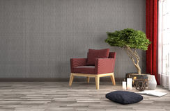 Innenraum mit Stuhl Abbildung 3D Lizenzfreie Stockfotos