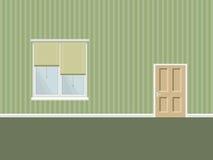 Innenraum mit Tür und Fenster Stockfotos