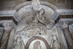 Innenraum und Details der Basilika von St Denis, Frankreich Lizenzfreie Stockfotos