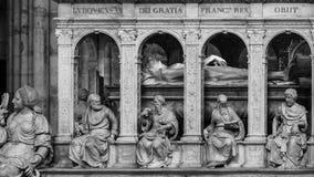 Innenraum und Details der Basilika von St Denis Paris, Fran Stockfotografie