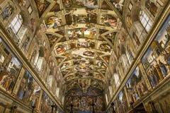 Innenraum und Details der Sistine-Kapelle, Vatikanstadt Lizenzfreie Stockbilder
