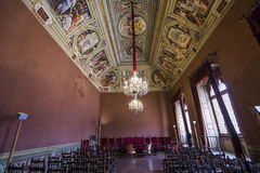 Innenraum und Details von Palazzo Pubblico, Siena, Italien Stockbild