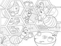 Innenraum und Familienleben von Bienen im Hausfarbton für Kinderkarikatur vector Illustration Bienenhaushonig-Bienenhaus Lizenzfreie Stockfotografie