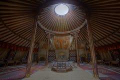 Innenraum von großartigem Ger des Königs in Mongolei stockbilder