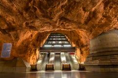 Innenraum von Radhuset-Station, Stockholm-Metro Lizenzfreie Stockfotos