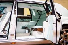 Innenraum von Rolls-Royce Phantom, Autoausstellung Geneve 2015 Lizenzfreie Stockbilder