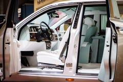 Innenraum von Rolls-Royce Phantom, Autoausstellung Geneve 2015 Lizenzfreie Stockfotografie