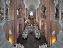 Innenraum von Roskilde-Kathedrale, Dänemark Stockbild