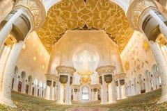 Innenraum von Sheikh Zayed Grand Mosque, Abu Dhabi, Vereinigte Arabische Emirate Stockfoto