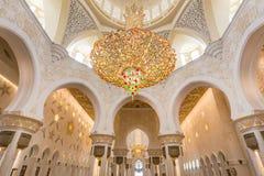 Innenraum von Sheikh Zayed Grand Mosque, Abu Dhabi, Vereinigte Arabische Emirate Lizenzfreie Stockfotos