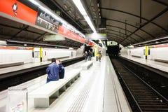 Innenraum von   Station Ruhme in Metrode Barcelona Stockbilder