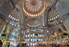 Innenraum von Sultan Ahmed Mosque Blue Mosque, Istanbul, die Türkei Lizenzfreies Stockbild