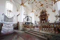 Innenraum von Trinitatis Kirke Lizenzfreies Stockfoto