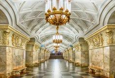 Innenraum von U-Bahnstation Prospekt Mira in Moskau, Russland stockfotos