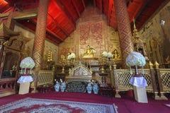 Innenraum von Wat Phra Singh, Chiang Mai, Thailand Lizenzfreies Stockbild