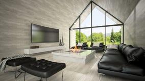 Innenraum von Wiedergabe des Wohnzimmers 3D des modernen Designs Stockfoto