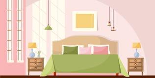 Innenraumkonzepthintergrund Schlafzimmerinnenraum mit einem Bett, nightstands, Lampen, einem Bild und großen Fenstern mit Lichter vektor abbildung