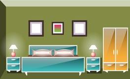 Innenraumschlafzimmer mit einem Bett Lizenzfreies Stockfoto