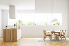 Innenseitenansicht der weißen Küche und des Esszimmers lizenzfreie abbildung