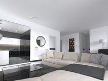 Innenstudio der geräumigen Wohnung mit skandinavischer Art, dem Speisen und Küche der weißen Wand lizenzfreie abbildung