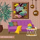 Innenwohnzimmer in der Dachbodenart Illustration im flachen Design mit Schatten Stockfotografie
