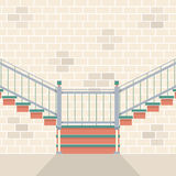 Innenziegelstein-Wand mit Treppe Lizenzfreies Stockbild