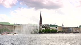 The inner Alster lake of Hamburg, Germany, stock footage