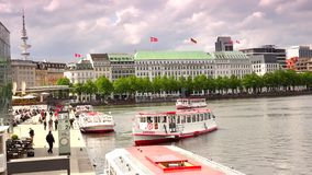 The inner Alster lake of Hamburg, Germany, stock video