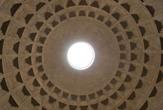 The inner arch of the Roman Pantheon. With a beautiful pattern of cube-shaped Stock Photography