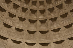 The inner arch of the Roman Pantheon. With a beautiful pattern of cube-shaped Royalty Free Stock Images