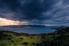 Coming storm in Opononi, New Zealand. Stock Photos