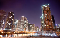Inner Canal Waterway Downtown Chicago City Skyline Royalty Free Stock Photos