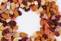 Inner circle of dried fruit and nuts Stock Photo