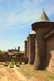 The inner city of Carcassonne, France and the Basilica of Saint-. The inner walled city of Carcassonne, France, with the Basilica of Saint-Nazaire in the Stock Photography