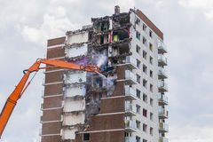 Inner city demolition of High rise building Royalty Free Stock Images
