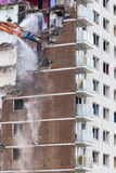 Inner city demolition of High rise building Royalty Free Stock Photos