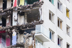 Inner city demolition of High rise building Royalty Free Stock Photo