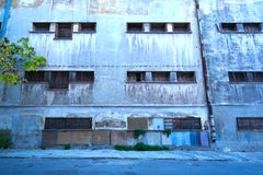Inner city. Ghetto street view with abandoned building stock image