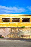 Inner city. Ghetto street view with abandoned building Royalty Free Stock Photos