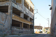 Inner city. Ghetto street view with abandoned buildings Stock Photography