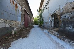 Inner city ghetto street view. With abandoned buildings Stock Image