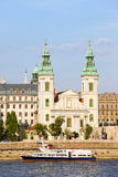 Inner City Parish Church in Budapest. 14th century Inner City Parish Church and Danube river in Budapest, Hungary Royalty Free Stock Images