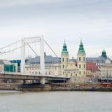 Inner City Parish Church and Elizabeth Bridge in Budapest, Hungary. Stock Photos